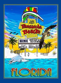 Pensacola Beach Florida United States America Travel Advertisement Art Poster