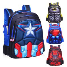 3D Spiderman Batman Captain America Children s School Bag Backpack for Boys  Kids Kids Backpack Boys 11f96e2195ae2