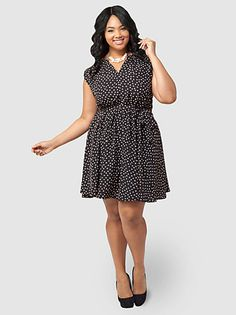 58a3b423f643f Belted Dotted Dress. Petite FashionPlus Size ...