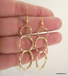 Graduated Gold Loop Earrings Twisted Hoop by JSWMetalWorks