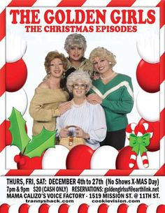 men in drag acting out Christmas episodes of The Golden Girls