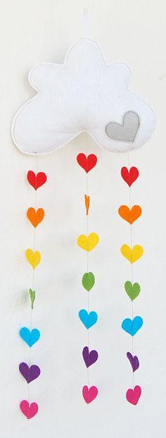 Raining Rainbow Love Hearts Cloud Mobile A by therainbowroom