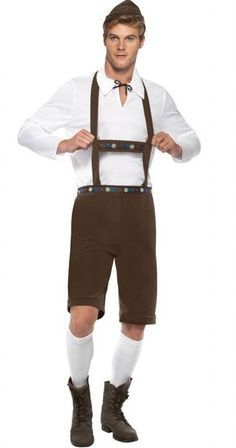 Dress accordingly for Oktoberfest with the Bavarian Man Costume. Included in This male fun fancy dress costume are lederhosen shorts with braces, top and hat. Don't drink too many beers!