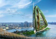 """""""Dragonfly Vertical Farm Concept"""": Conceived for the southern tip of NYC's Roosevelt Island in the East River, this visionary 132 floor self-sustaining vertical farm is modeled on the wing of a dragonfly. 28 different fields would allow production of fruit, vegetables, grains, meat, and dairy, with wastes recycled into fertilizers. Housing and work spaces surround the farm to ensure 24 hour care.    Vincent Callebaut Architectures (2009)"""
