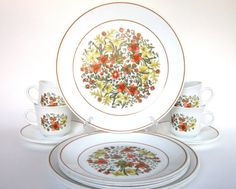 """Vintage Corelle """"Indian Summer"""" Dinnerware - My fall kitchen dinnerware. Corelle Sets, Corelle Dishes, Corelle Plates, Indian Summer, Corelle Patterns, Fine China Patterns, White Dishes, Cool Items, Vintage Dishes"""