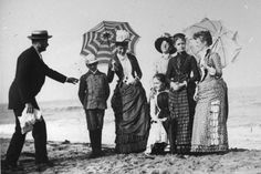 """The """"Montgomery Family"""", posing at the beach in New Jersey, c.1886. ~ American Gilded Age era photographer: Wallace G. Levison, (far left of image), for LIFE magazine. ~ {cwl} ~~ (Image: tumblr)"""
