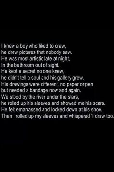 """I rolled up my sleeve and whispered """"I draw too"""""""