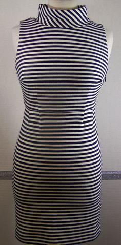Boden Petites Dress 2P Navy Blue White Striped Mini length sleeveless  #Boden #Sheath #SummerBeach