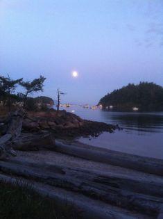 Moonrise over Fossil Bay. (Sucia Island)