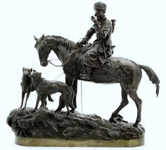 Grachev, Vasilii (b,1831)- Borzois w Cossack Hunter (Bronze Sculpture- Cast by CF Woerffel) 1877