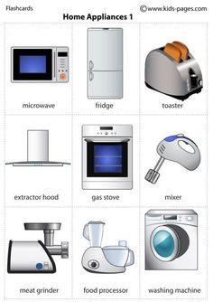 English vocabulary – Home Appliances Learn or practise English with native Engli… Learning English For Kids, English Lessons For Kids, Kids English, English Language Learning, English Study, Teaching English, French Lessons, German Language, Spanish Lessons