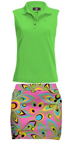 Try this on! Loudmouth Golf Ladies & Plus Size Outfit (Shirt & Skort) - Jasmine Green & Shagadelic Pink #Golf #Outfit #Fashion #Green #Pink