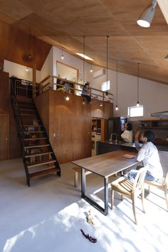 Cafe Shop Design, House Design, Plywood Ceiling, Japanese Modern House, Style Japonais, Cabins And Cottages, Tiny House Plans, Concrete Floors, House Rooms