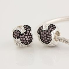 """Mickey Mouse"" with Pink Cz 925 Sterling Silver Charm/bead for Pandora, Biagi, Chamilia, Troll and More Bracelet"