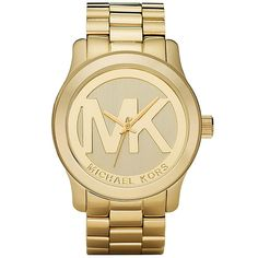 Eek!!!!!! Chad is buying me this!!  Michael Kors Women's MK5473 Gold-Tone Logo Stainless Steel Watch - Overstock™ Shopping - Big Discounts on Michael Kors Michael Kors Women's Watches