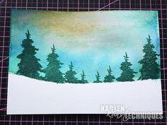 Karten-Kunst Technique #27: Verschneite Landschaft