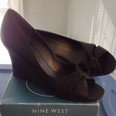 Black Leather Wedges Cute Nine West easy to walk in & very stylish. Nine West Shoes