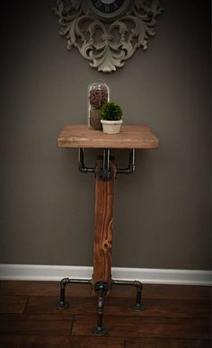 PUB / BAR Table Solid Wood Beam & Iron Pipe Square Dining