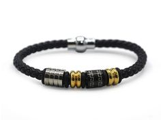 Decorative Leather Bracelet Stainless Steel Accents Magnetic Clasp (Gold/Silver)