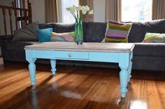 My new coffee table. Love!!! #whitewash #aqua #farmhouse #retro #paintedfurniture