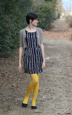 Striped Dress & Colored Tights