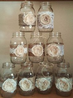 For sale is 10 handmade shabby chic mason jar sleeves. Perfect for a rustic wedding! Burlap adorned with lace and handmade light brown/Ivory