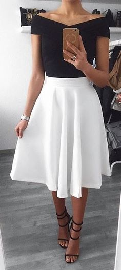 #spring #outfits Black Off The Shoulder Top + White Skirt + Black Sandals