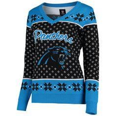 1852ddbe5 Women s Carolina Panthers Klew Black Big Logo V-Neck Sweater