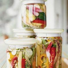 Spicy Pickled Summer Vegetables Recipe Side Dishes with white vinegar, sugar, sea salt, dill seed, crushed red pepper flakes, ground black pepper, clove, bay leaves, vegetables