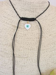 Greek Macrame  Evil Eye Heart Necklace by ForThatSpecialDay on Etsy