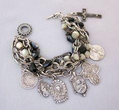 Repurposed vintage religious medal charm bracelet - one of a kind jewelry designs by JryenDesigns.etsy.com