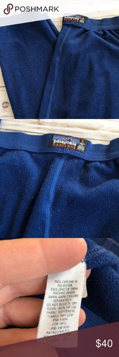 Patagonia Capilene Fleece Long Johns Small Great pair of navy fleece long johns by Patagonia. Great to wear under you ski pants . So warm and comfy. Tiny pinhole in the butt area, but these pants still work the same and does not attract from the look or warmth. 30in Leg inseam 40in from waist to hem Pants