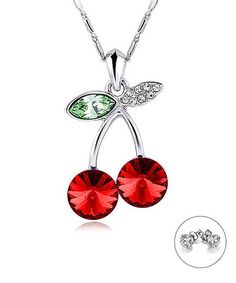 This Red Cherry Bomb Necklace Made With SWAROVSKI® ELEMENTS is perfect! #zulilyfinds