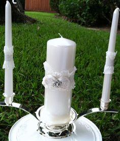 Wedding Unity Candle Wrap Set  Ivory French Lace #ww #weddingwednesday