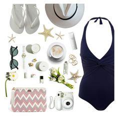 """Beach day"" by sanddollardubai ❤ liked on Polyvore featuring Melissa Odabash, Ray-Ban, Branca and Shiseido"