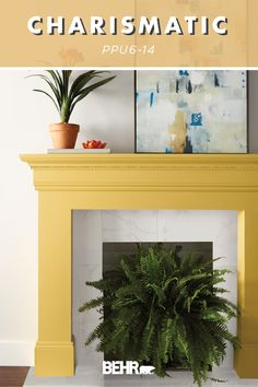 An energetic and optimistic shade of yellow, we're loving the addition of BEHR® Paint in Charismatic to this painted fireplace mantle. This rich accent color is perfect for fall—bringing to mind the image of autumn leaves and the final days of summer. It's also part of the new BEHR® 2020 Color Trends Palette! Click below for more color inspiration.