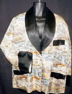 c709e04c65d8f Mid Century Japanese Silk Smoking Jacket Sz M Vintage Retro Mad Men