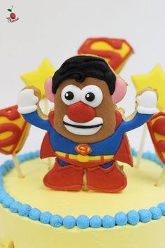 Superman Mr. Potato Head Birthday Cake  Angel Food Cake with Fresh Strawberries   Icing Cookies Decorations