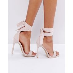 Coco Wren Barely There Sandal (€41) ❤ liked on Polyvore featuring shoes, sandals, pink, high heels sandals, wrap sandals, peep toe sandals, pointy shoes and pointed shoes