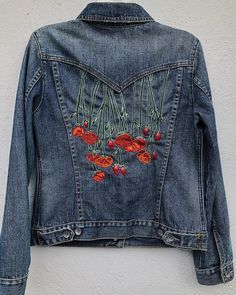 Hand Embroidered Levis Denim Jacket Gypstitch Embroidery - Jeans Jacket - Ideas of Jeans Jacket - Hand Embroidered Levis Denim Jacket Gypstitch Embroidery Denim Jacket Embroidery, Embroidered Denim Jacket, Embroidery On Clothes, Embroidered Clothes, Embroidery Fashion, Custom Embroidery, Hand Embroidery, Embroidery Services, Diy Jean Embroidery