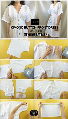Dress Sewing Tutorials, Dress Sewing Patterns, Sewing Basics, Diy Dress, Kimono Dress, Make A Dress, Sew A Dress, Diy Buttons, How To Make Clothes