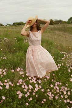 breezy summer day, pink, flowers, straw hat, english, style, fashion, countryside