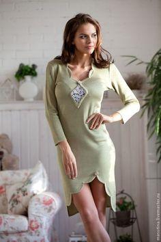 """Платье """"Olivka"""" - оливковый, вязаное платье, платье с вырезом, нарядное платье, зеленое платье, handmade dress"""