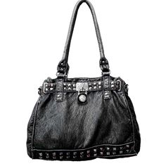 """Crafted from soft, washed leather-like material and accented with silver studs with a lock decoration, this versatile studded shoulder bag is the ultimate go-anywhere bag. Sling it on your shoulder or use the detachable strap and wear it as a crossbody. Zipper top closure. Zipper pocket on back. Dimensions: 15"""" (L) x 11"""" (H) x 5"""" (W); Drop: 10"""""""
