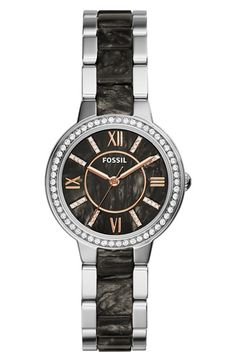 Fossil 'Virginia' Resin Link Crystal Bezel Bracelet Watch, 30mm available at #Nordstrom