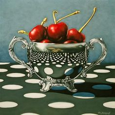 "Daily Paintworks - ""Polka Dot Cherries"" - Original Fine Art for Sale - © Margaret Horvat"