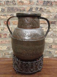 Antique Large Hammered Copper Vessel Persian Style Etched Floral Design Vase