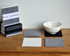 Cup Coasters For Drink. Beer Coasters Felt Table Protector. Barware. Set Of 4.