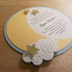 You guests will be Over the Moon when they receive this cute invitation in the mail. Each invitation is die-cut in the shape of a half moon from premium, textured cardstock. It comes embellished with tiny gold stars and a little fluffy cloud. This sweet little invitation is perfect for your