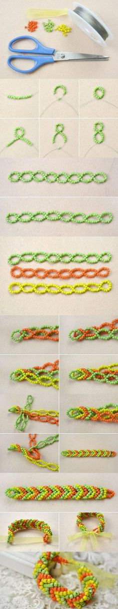 Tutorial on How to Make a Pony Bead Cuff Bracelet for Golden Autumn from LC.Pandahall.com #pandahall | Jewelry Making Tutorials & Tips 2 | Pinterest by Jersica